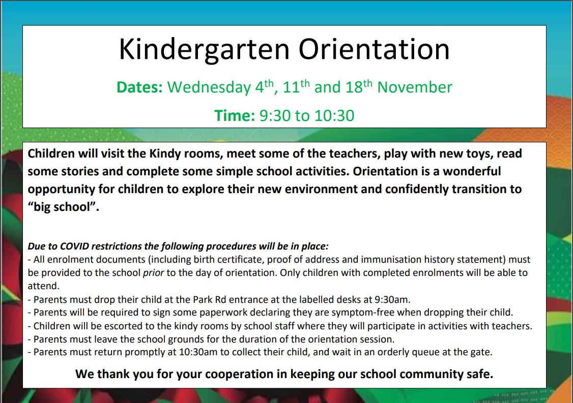 Kindergarten 2021 Orientation Dates